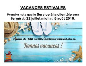 Vavances estivales 2016